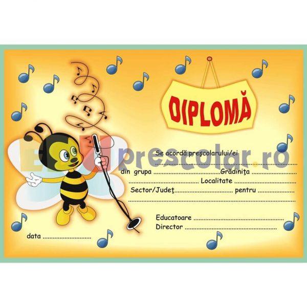 diploma pentru prescolari cu albinuta care canta - dpa15