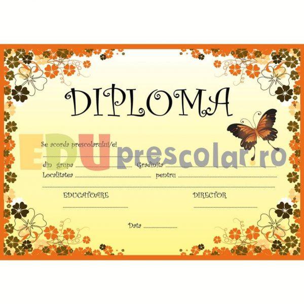 diploma pentru prescolari cu fluture si flori - dpa17