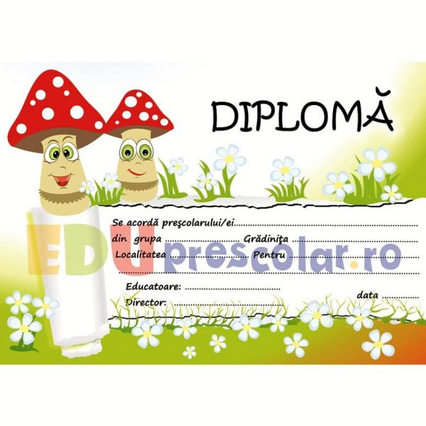 diploma absolvire gradinita, grupa ciupercutelor - dpa34