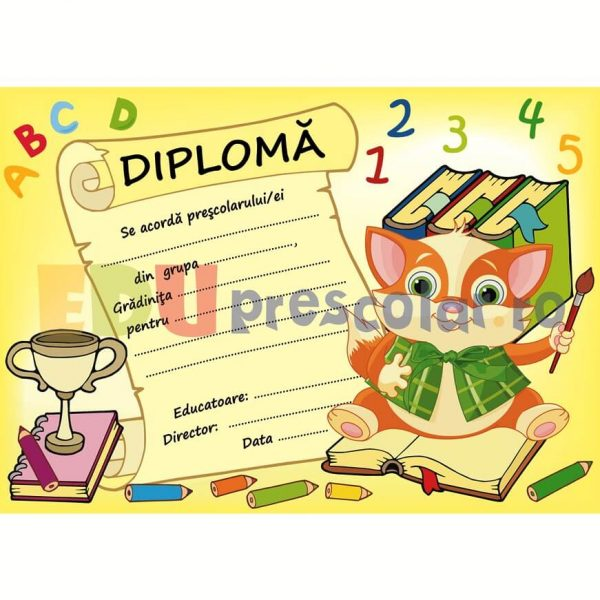 diploma pentru prescolari cu pisicuta - dpa45