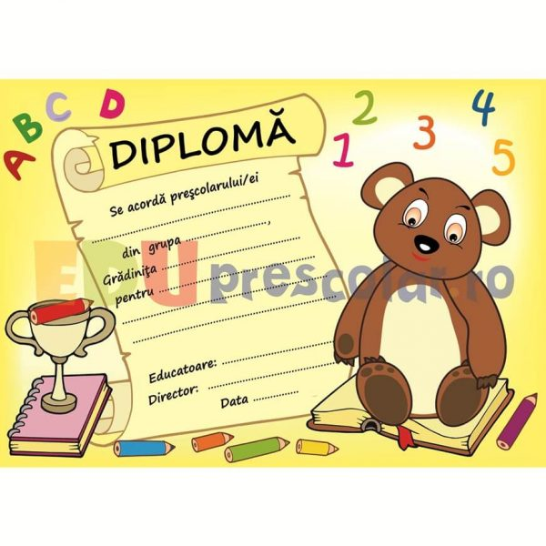 diploma pentru prescolari cu ursulet - dpa47