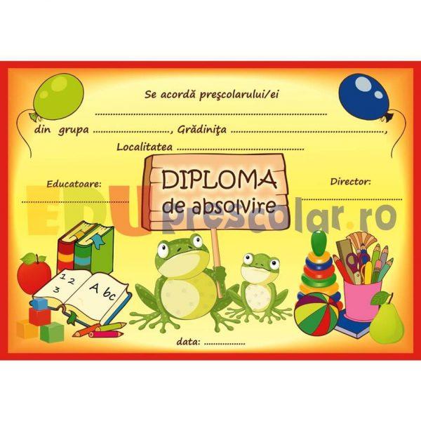 diploma pentru prescolari, grupa broscutelor - dpa52