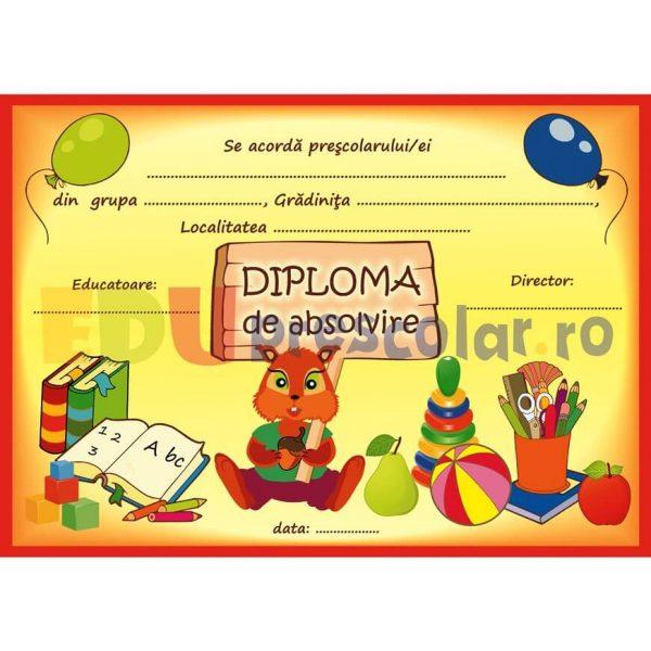 diploma pentru prescolari, grupa veveritelor - dpa58