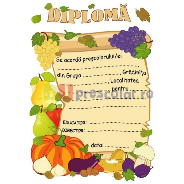 diploma cu fructe si legume de toamna