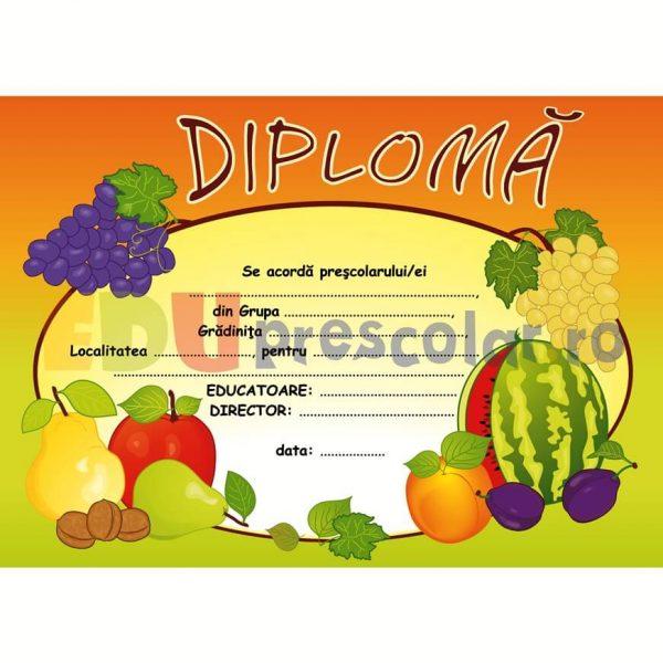 diploma pentru prescolari cu fructe fel de fel - dtp03