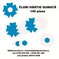 flori hartie gumata albastru alb