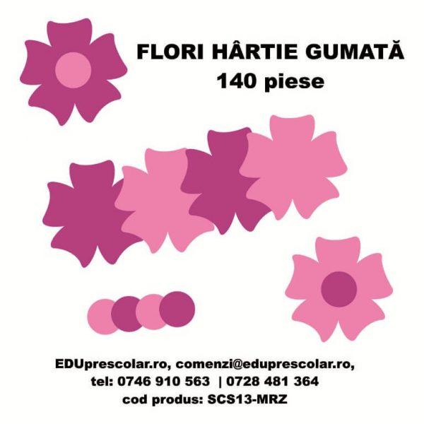 flori hartie gumata mov roz