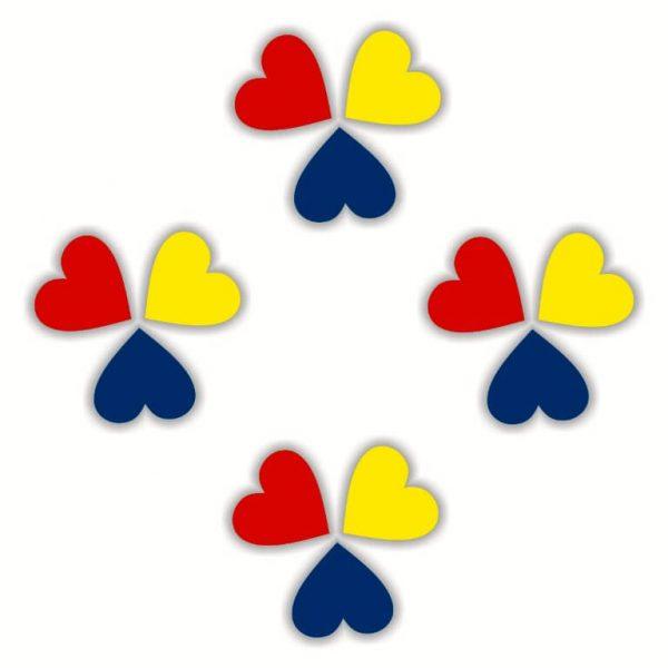 inimioare tricolore