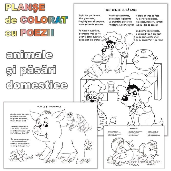Planse De Colorat Cu Poezii Haioase Cu Animale Si Pasari